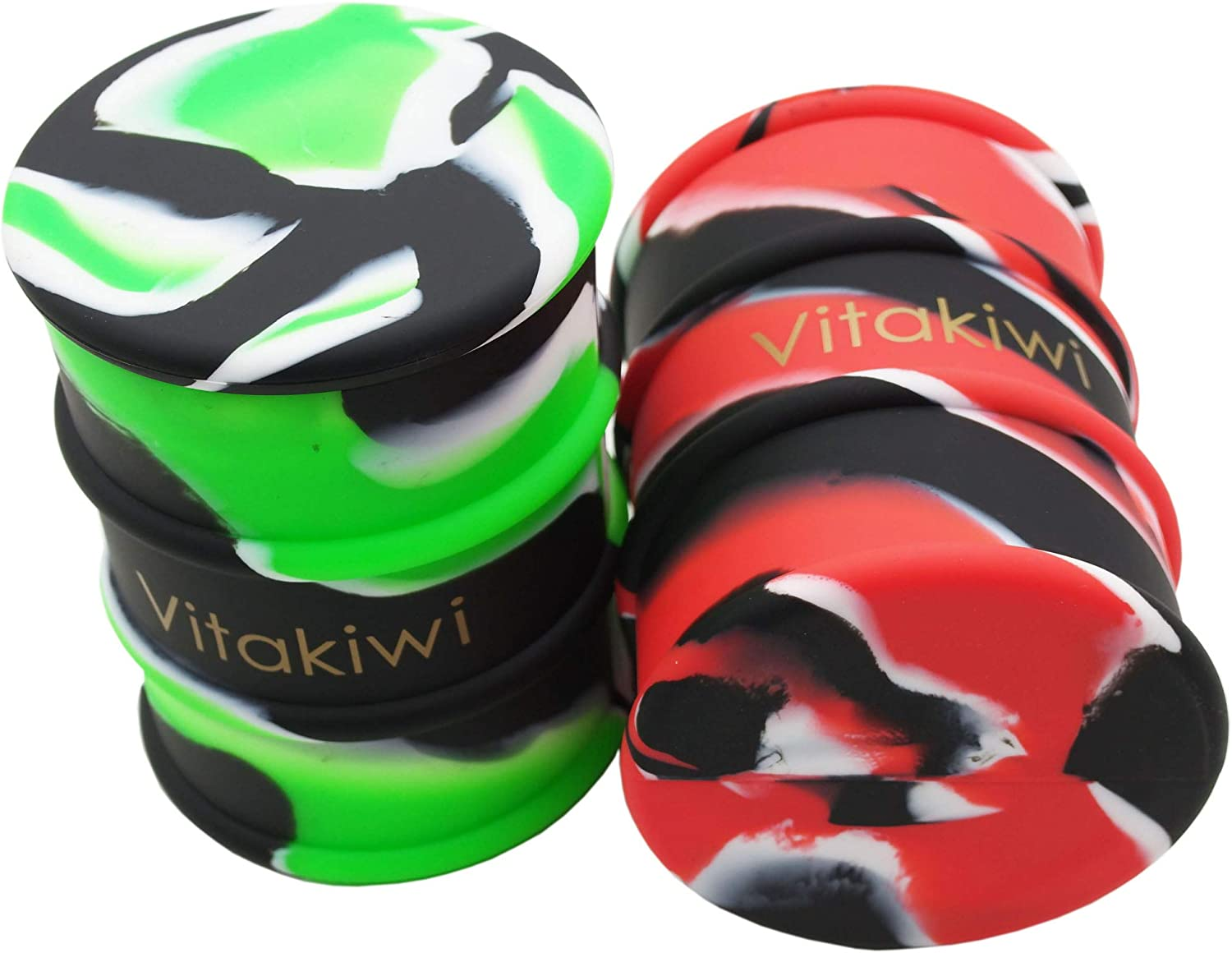 Vitakiwi 2PCS 500ml Large Barrel Silicone Wax Oil Concentrate Containers Non-stick Drum Jar (B)