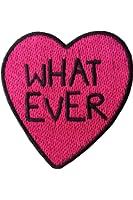 """likalla Herz Aufnäher / Aufbügler """"WHAT EVER"""", schwarz und pink gestickt. Freches Girl Power (iron-on) Patch zum Aufbügeln."""