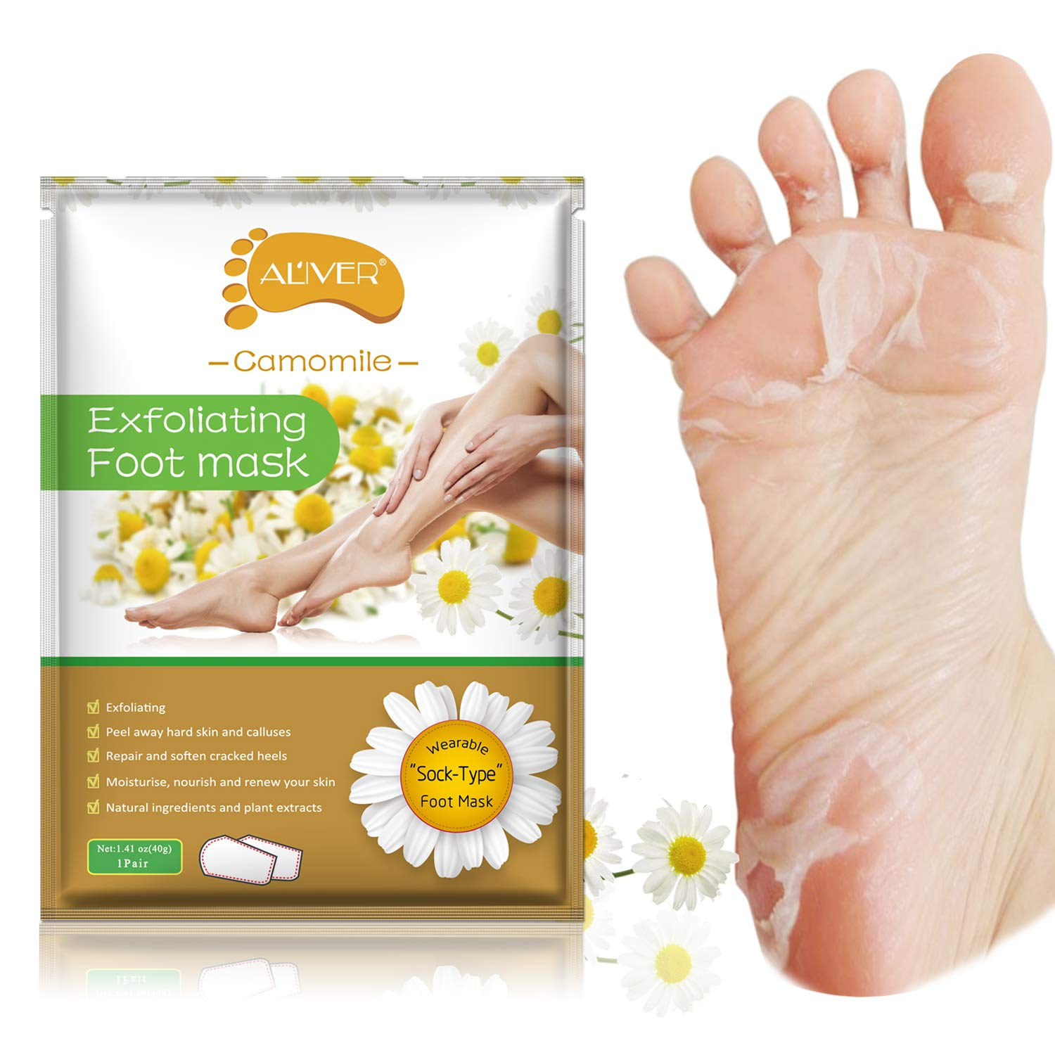 2 Pairs Foot Peeling Mask, Camomile Scented Exfoliating Callus Peel Booties, Baby Your Foot Naturally in 1 Week (Camomile) DongEr