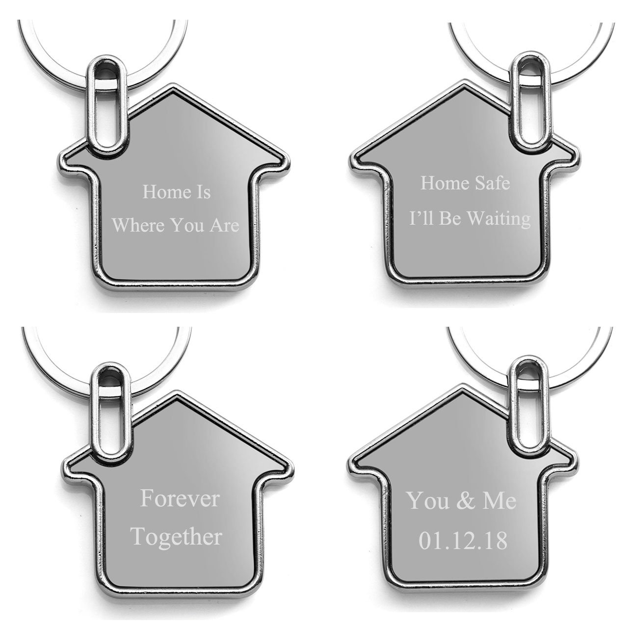 JSDDE Personalized Solid Alloy Dog Tag Keyring, Customized Engraved Keychain - Enter Your Custom Text, Fathers Day Gift(House)
