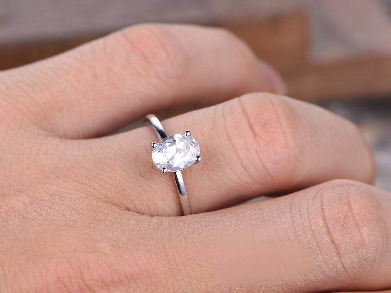 Amazon.com: 6x8mm Oval Cut Engagement Ring,925 Sterling Silver ...