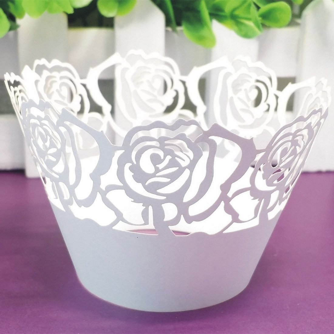 12Pcs Pearly Paper Rose Design Vine Lace Cup Cake Wrappers Case Party Birthday Decorations Home Luwu-Store 3981053