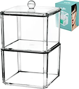 Acrylic Qtips Pads Cottonball Organizer - 2 stackable clear container with lid! Cotton swab q tip holder dispenser for bathroom cabinet and over toilet storage! Under sink decor organizers for makeup!