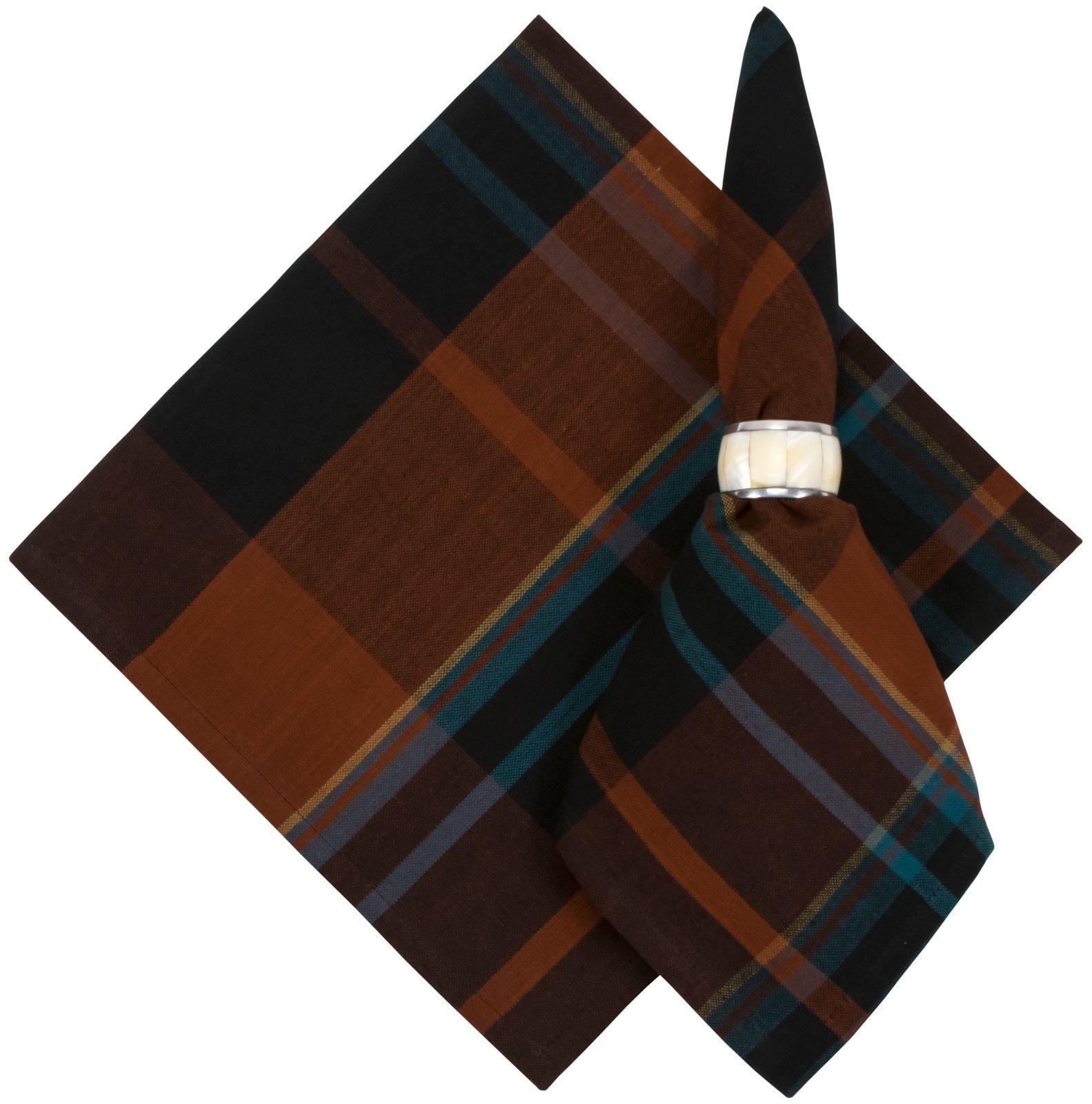 100% Cotton Brown & Navy Blue Plaid 22''x22'' Napkins, Set of 6 - Foxtail
