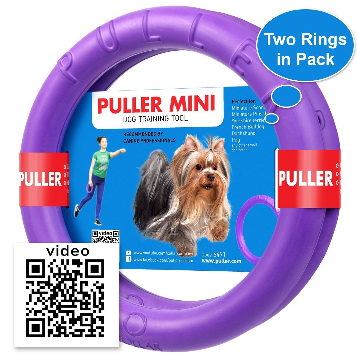 Dog Toy - Interactive Small Midi Dog Puppies Training - Fetch Toy - Dental Healthy - Dog Toys Set 2 Rings by Puller Mini Plus - Size 7 inches