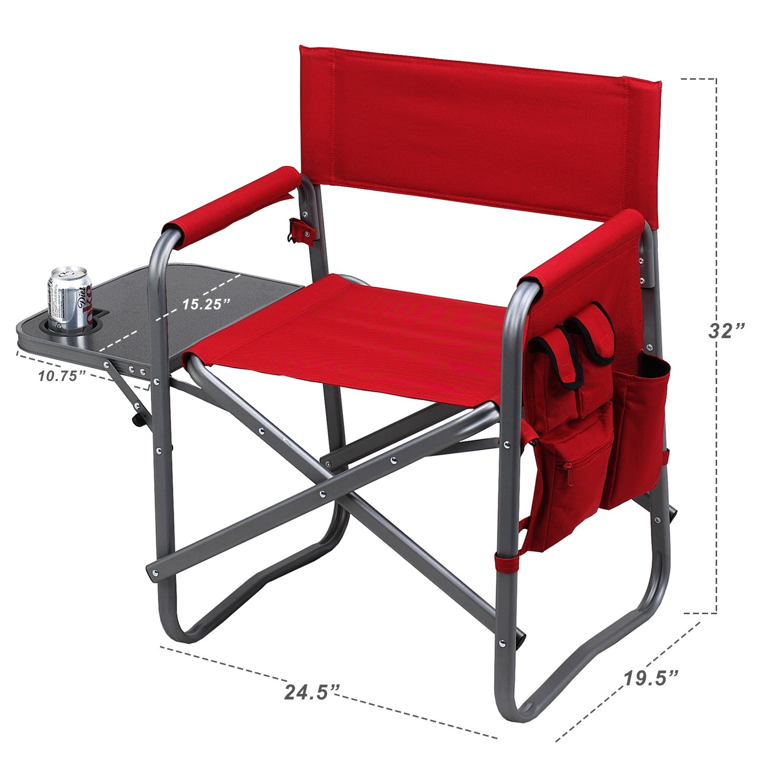 Black Picnic at Ascot Folding Directors Chair with Table and Organizer