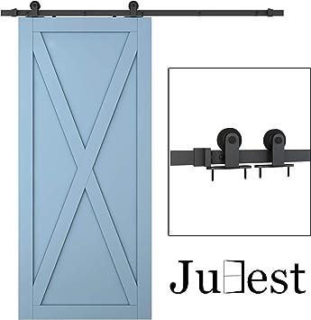 Kit de rieles de acero negro para puerta corredera de barno, 2 x 3 pies: Amazon.es: Bricolaje y herramientas
