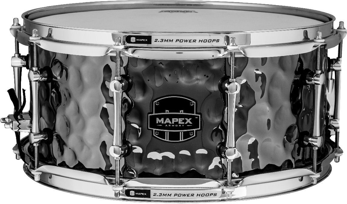 MAPEX ARST465HCEB Armory 14 x 6.5 Inches The Daisy Cutter Snare Drum with Chrome Hardware, Hammered Black Chrome Finish by Mapex