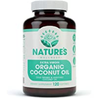 Organic Coconut Oil 2000mg - Healthy Skin, Nails, Weight Loss, Hair Growth – Extra Virgin, Cold Pressed, Unrefined Non…