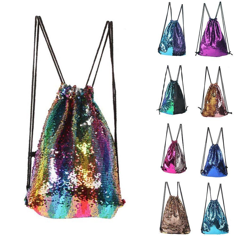 ZTMY Glitter Sequins Backpack Drawstring Backpack Sackpack Bling Shining Bag Shoulder Bag (Multicolor)