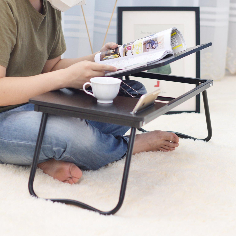 soges Betttisch Laptoptisch Laptopdesk aus Holzwerkstoff und Metall Frame mit Sicherheitsblende und Steckplatz,Wei/ß Ahorn