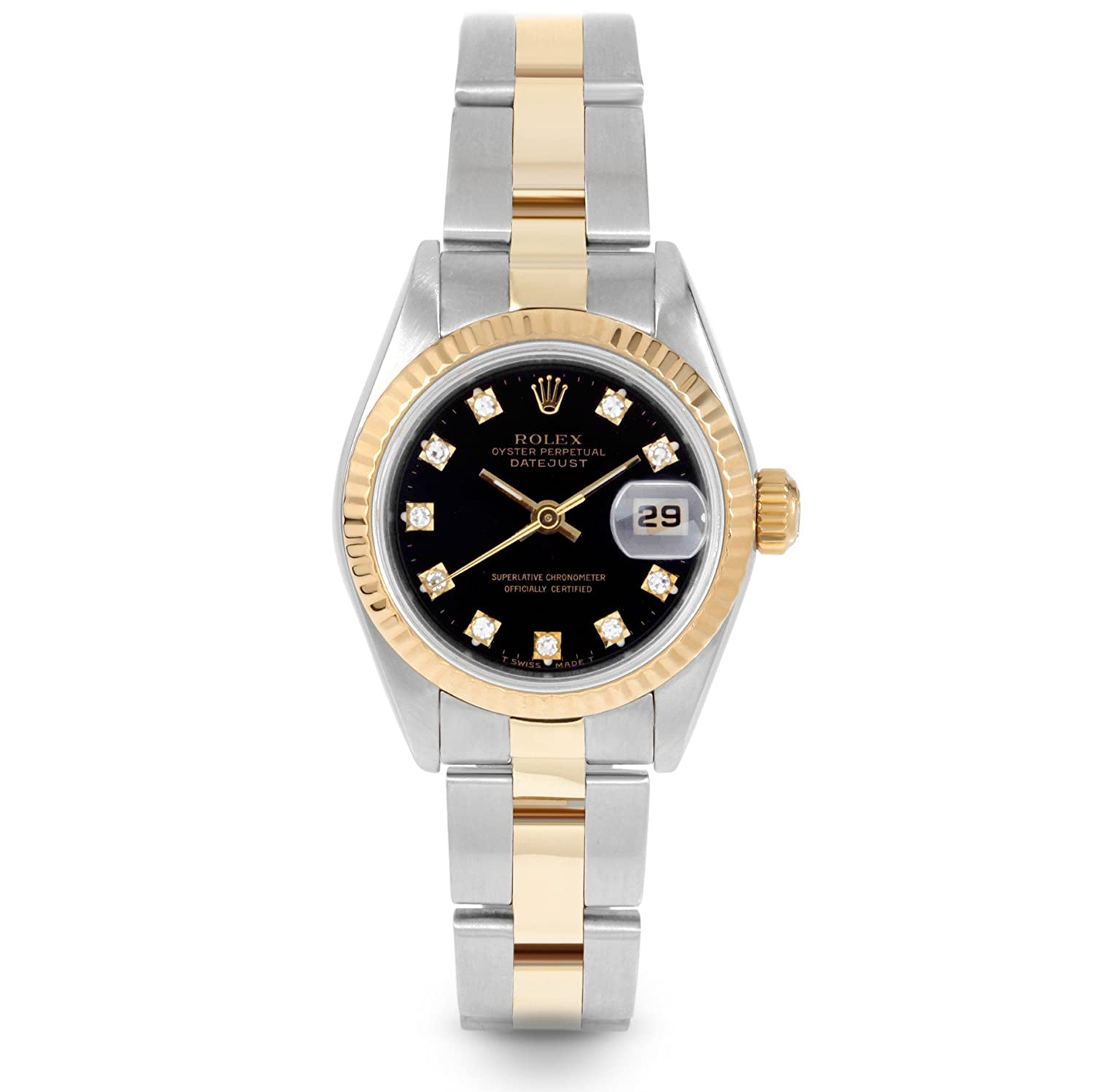 Rolex Ladies 26mm Stainless Steel 18k Yellow Gold Parts Diagram Datejust 69173 Sapphire Crystal Quickset Date Feature Black Diamond Dial Fluted