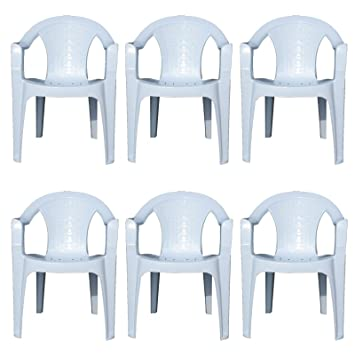 Pleasant Indoor Outdoor White Plastic Lawn Chairs Garden Patio Armchair Stacking Stackable 6 Download Free Architecture Designs Embacsunscenecom