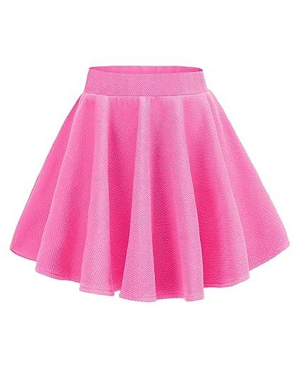 642bad0eba v28 Junior Girls High Waist Stretch Waist Flared Plain Pleated Casual Mini  Skirt (Rose)