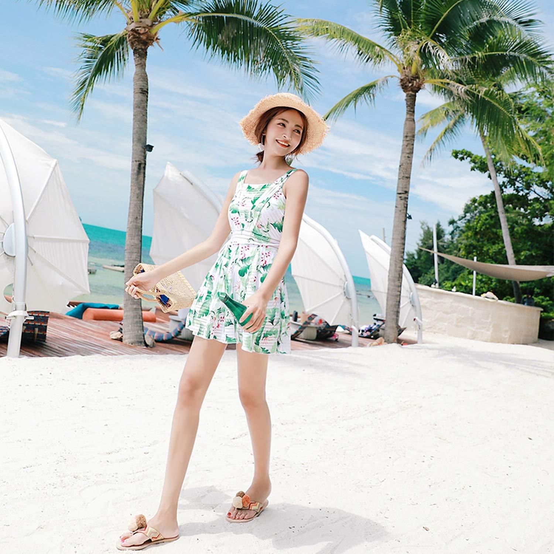 2019 New Ladies One Piece Swimwear Skirt Printed Floral Women Dress Slim Underwire Swimsuit Beachwear