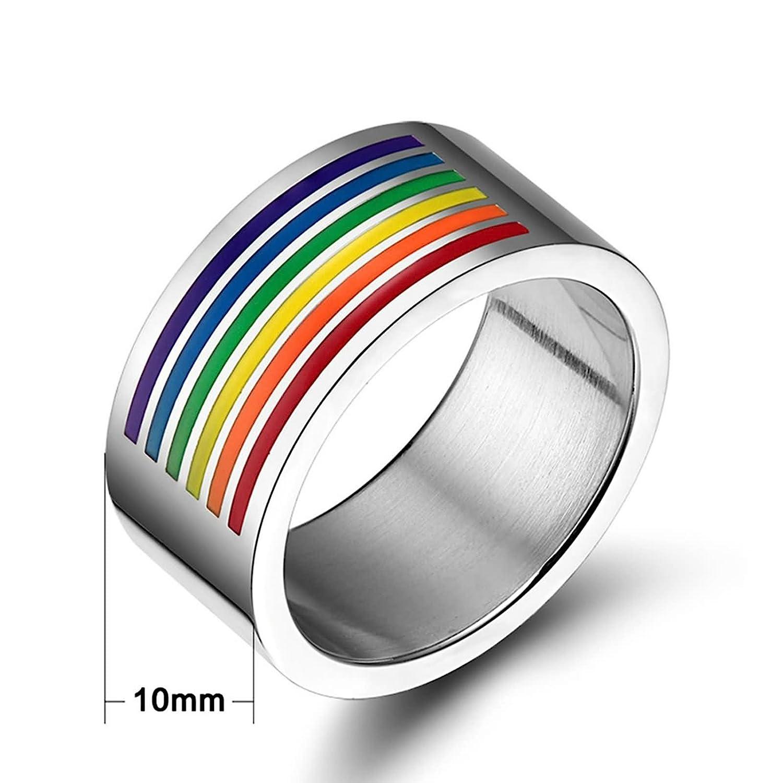 Daesar Homosexual Anillo Acero Inoxidable de Mujer Hombre, Sortija del Arco Iris LGBT Banda Venda Orgullo Gay Banda Venda para Gays & Lesbianas: Amazon.es: ...