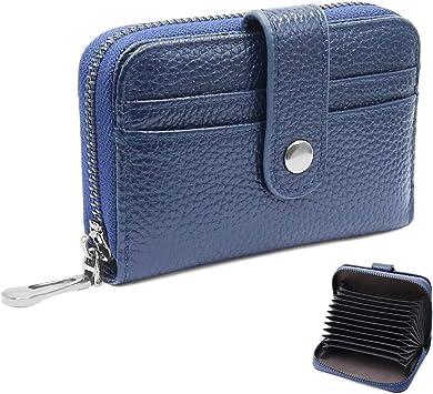 HNOOM Tarjetero para Tarjetas de Crédito para Hombre y Mujer RFID Billetera para Tarjetas de Crédito Cuero con 12 Ranuras para Tarjetas y Monederos Cartera Cremallera (Azul): Amazon.es: Equipaje