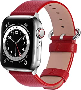 Fullmosa Compatible Apple Watch Band 38mm 40mm 42mm 44mm Calf Leather Compatible iWatch Band/Strap Compatible Apple Watch SE & Series 6 Series 5 Series 4 Series 3 Series 2 Series 1,38mm 40mm Red