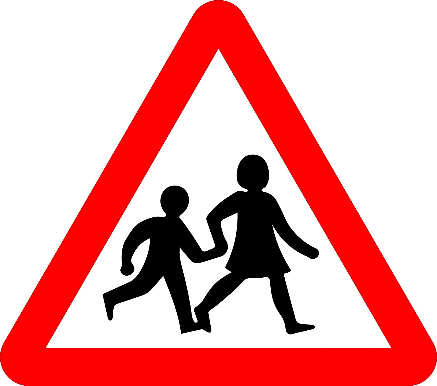 Children Crossing Road safety sign - 3mm Aluminium sign fitted with 2  strips Channel to rear for mounting on post 600mm x 600mm: Amazon.co.uk:  DIY & Tools