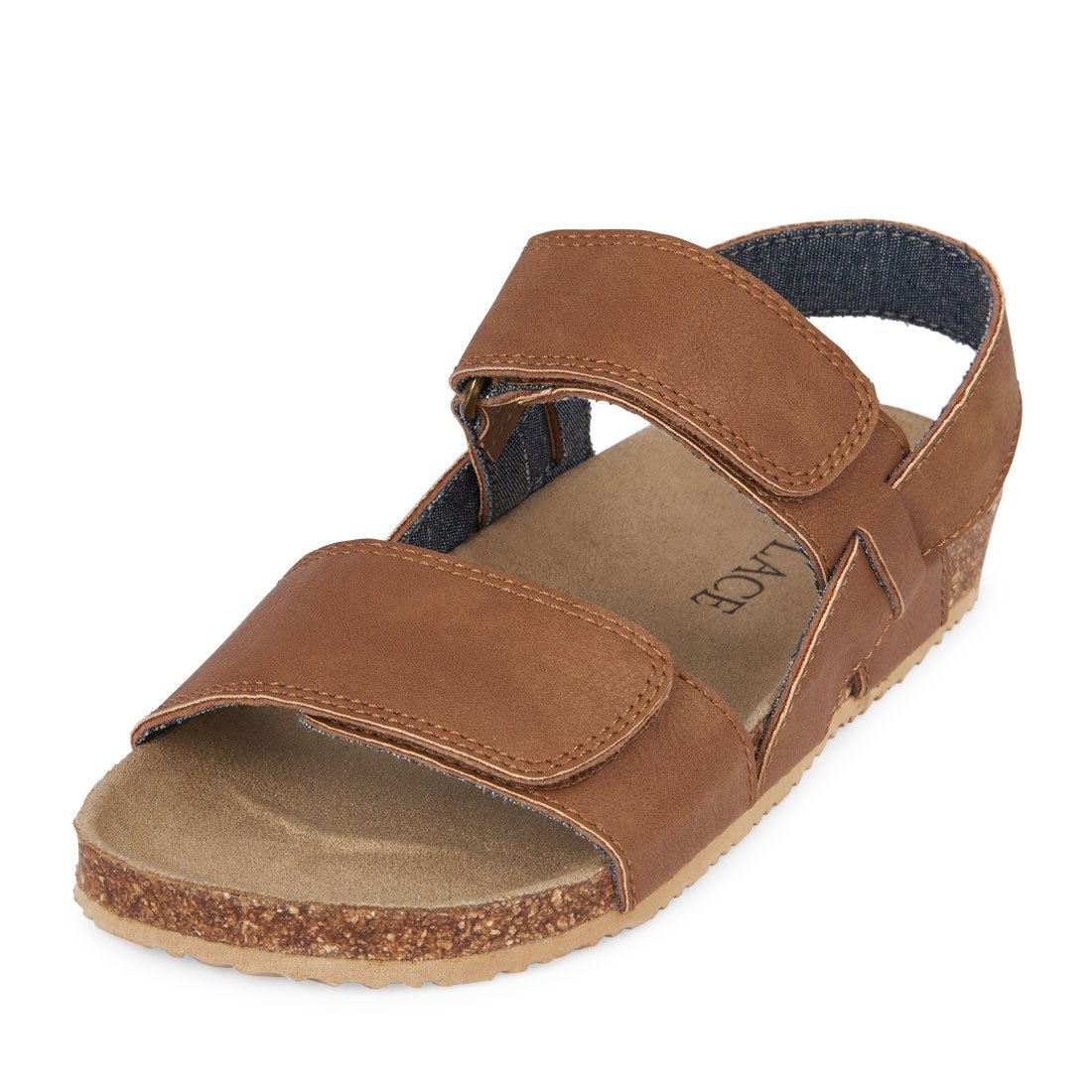 The Children's Place Boys' Double-Strap Scout Sandal, Tan, Youth 4 Youth US Big Kid