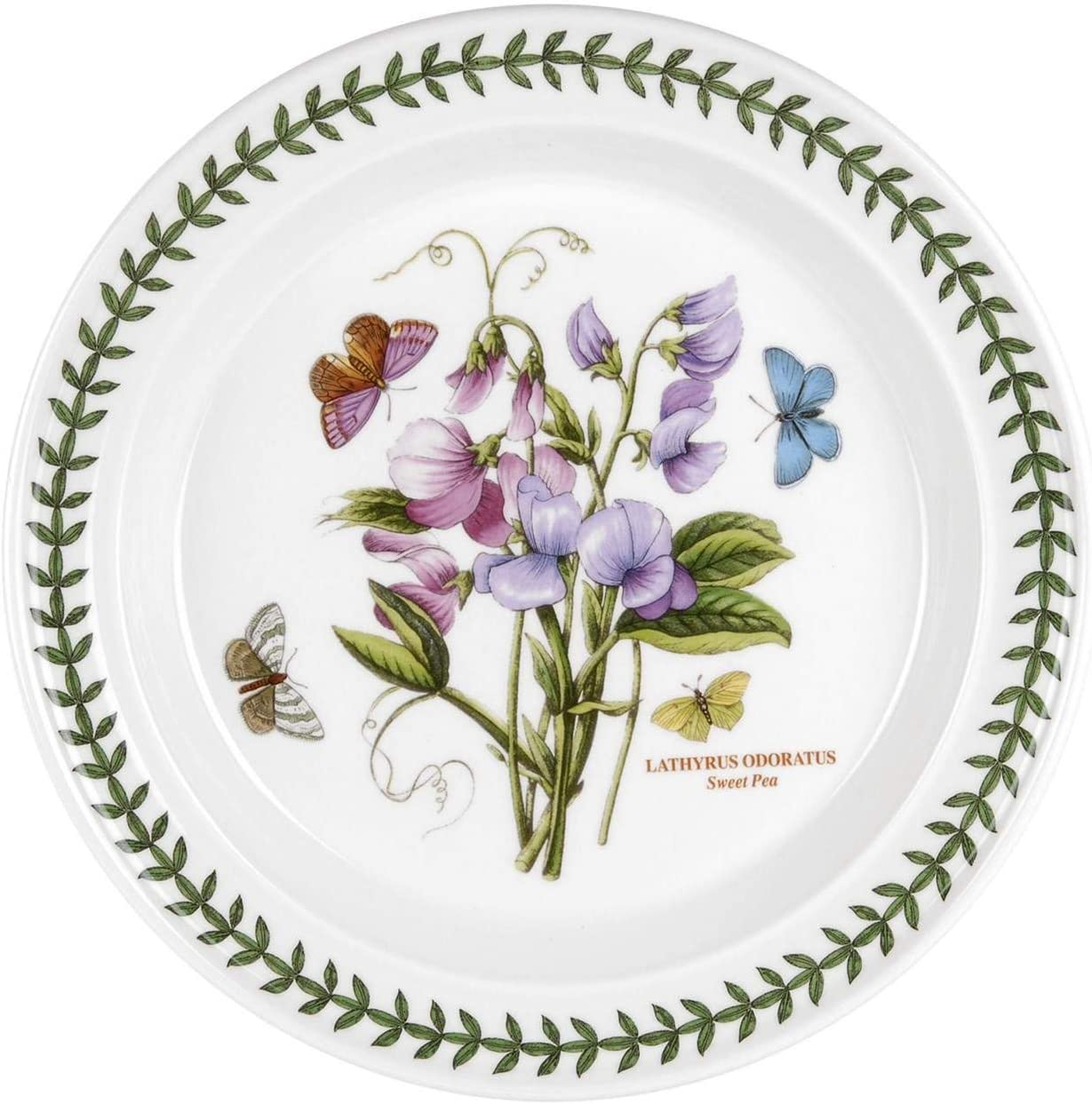 """Portmeirion 344655 Botanic Garden Dinner Plate, 10.5"""", Sweet Pea, White"""