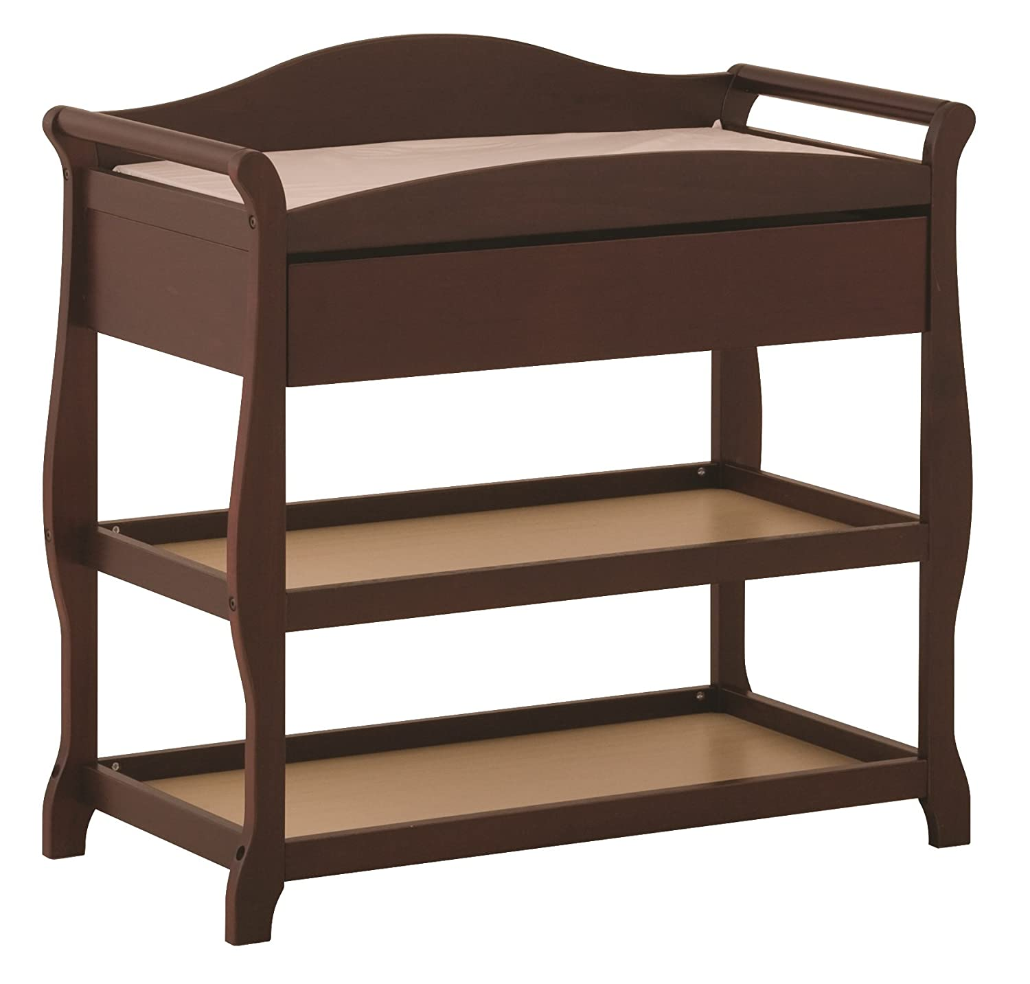 B00029TCWG Storkcraft Aspen Changing Table with Drawer, Cherry, Sleigh Design Changing Table with Changing Pad and Safety Strap, Oversized Drawer and Two Storage Shelves 71Cj7N0r91L