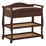 Storkcraft Aspen Changing Table with Drawer, Cherry, Sleigh Design Changing Table with Changing Pad and Safety Strap, Oversized Drawer and Two Storage Shelves