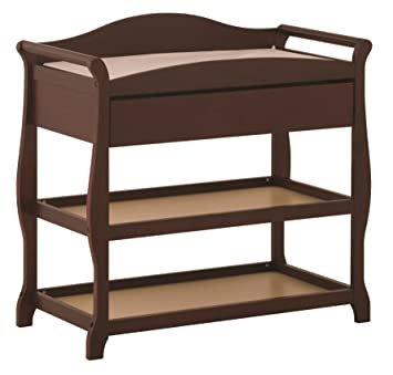 Beau Storkcraft Aspen Changing Table With Drawer, Cherry, Sleigh Design Changing  Table With Changing Pad