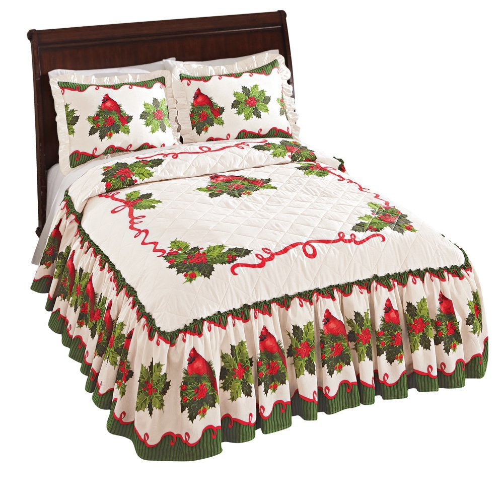 Collections Etc Holiday Cardinal Poinsettia Bedspread, Full, Red