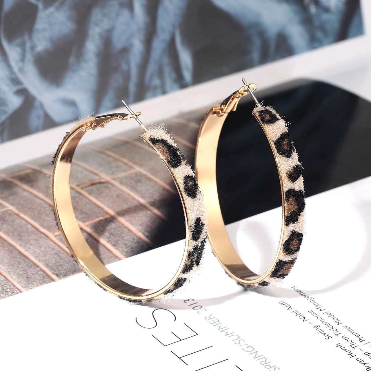 Leopard Print Hoop Earrings Bohemian Statement Earrings Earring Hoops Wood Earrings Hoop Earrings Wooden Hoops Animal Print Earrings
