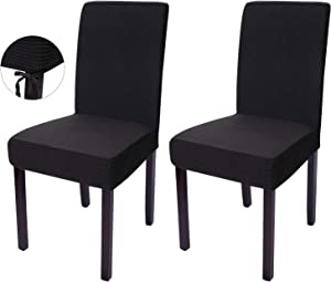 Nesaila Chair Covers with Rope Knot Removable Washable, Stretch Chair Covers, Parsons Chair Slipcover Chair Covers for Dining Room Banquet Party, Set of 2(Black)