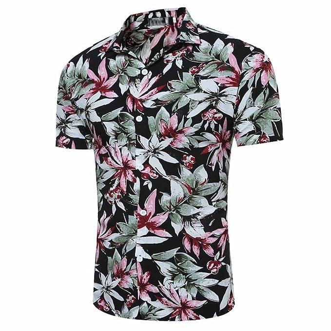 Hemden Männer Lässig Hemd Hawaii-Print mit Blumen Slim Fit Kurzarm T-Shirt  Herrenhemden Super Komfort Kurzarmhemd Sommerhemd Streetwear Shortsleeve ... c74c85d985