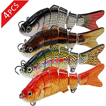 GIRIAITUS Fishing Lures, 3D Jointed Swimbaits Freshwater Fishing Bait Lifelike Bass Swimbaits Hard Lure Fishing Tackle Kits(All Styles & Colors)