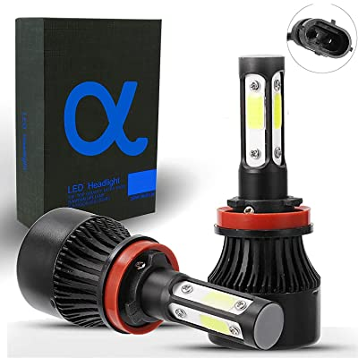 4-Sided Compact LED Headlight Bulbs [9006 (HB4), 6000K Bright White] All-in-One COB Direct Replacement Kit: Automotive