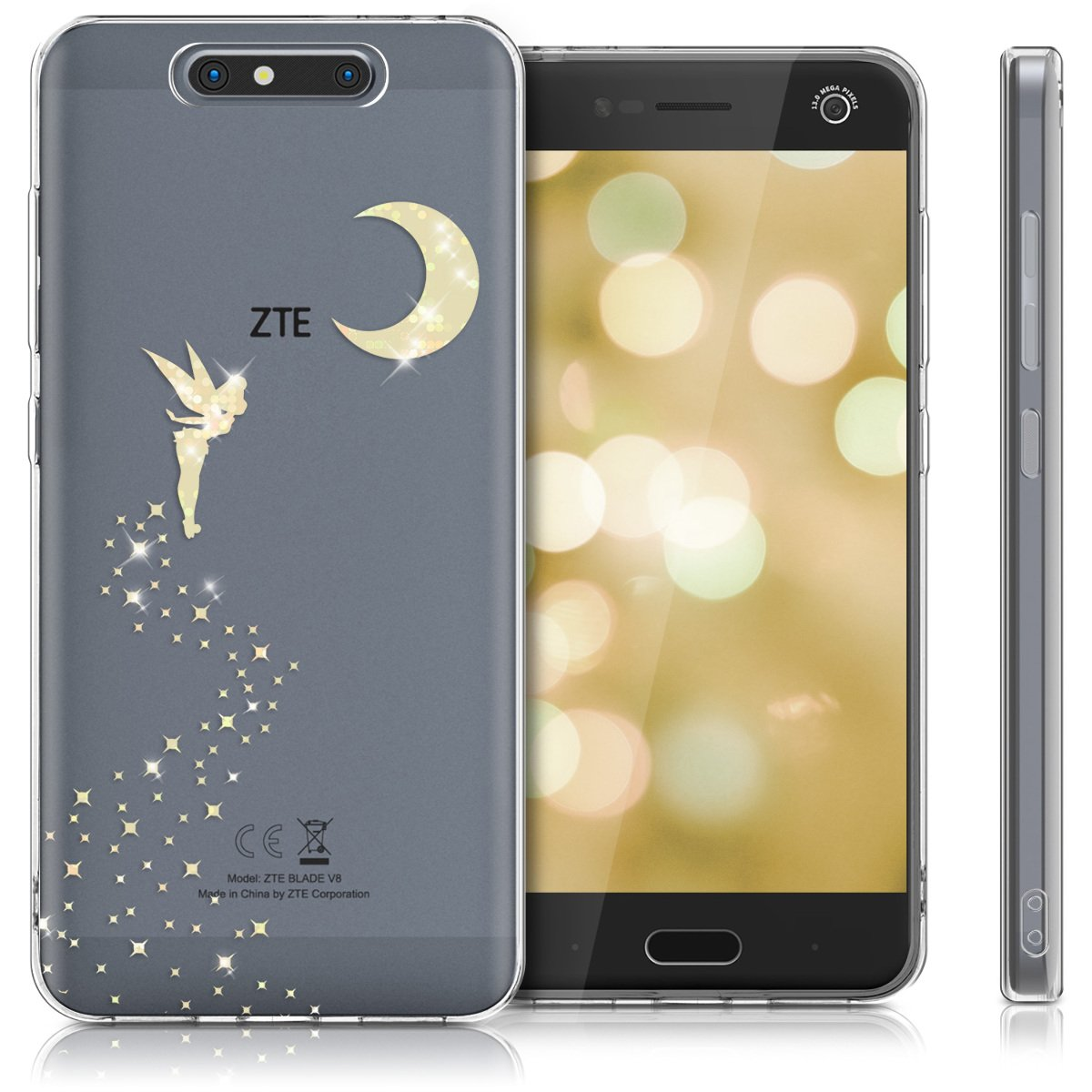 kwmobile TPU Case for ZTE Blade V8 - Soft TPU Silicone Cover - Crystal Clear Back Case IMD Design - Gold/Transparent