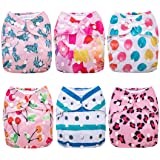 Anmababy Cloth Diapers, 6 Pack Adjustable Size, Waterproof, Washable Pocket Cloth Diaper Cover with 6 Inserts and 1 Wet…