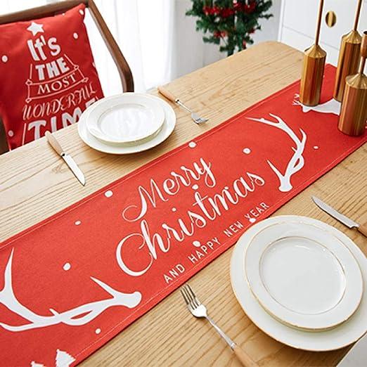 JINGXIANGJIAJU Navidad Mesa Bandera Mantel Banquete de Boda Mesa ...