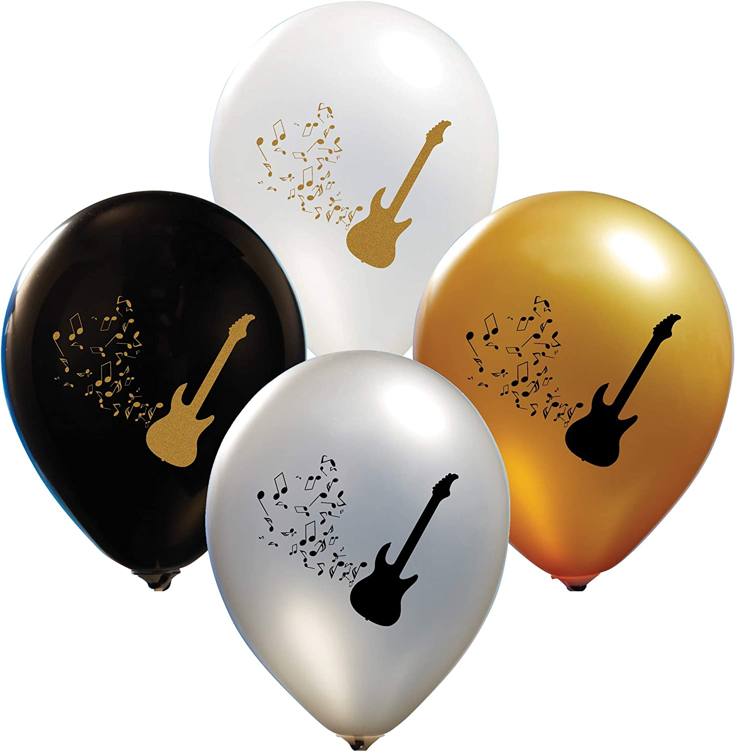 """Party Zone Guitar Balloons for Party of Rock Star Birthday, Guitar Party Décor, Electric Guitar Latex Balloons - 12"""" Latex for Birthday Parties or any Event - Use Air, Helium Party Décor"""