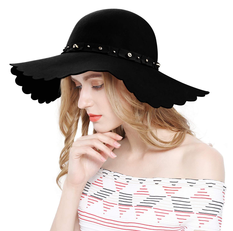 Lovful Women's Wide Brim Felt Bowler Fedora Floopy Wool Hat,Style2_ Black