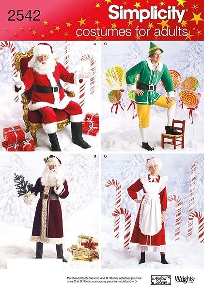 Amazon Simplicity 2542 Santa Claus Mrs Claus Elf Costume