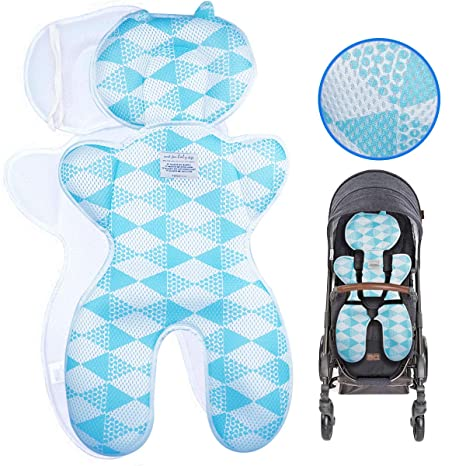 Blue Pushchair Liner Summer Pram Buggy Stroller Liner Universal Breathable Cool and Comfortable for Newborn Baby