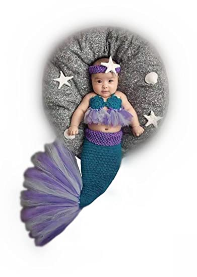 89b9e9b779aa1 Amazon.com  Newborn Baby Crochet Knitted Photography Props Purple Mermaid  Bra Tail Outfits  Baby