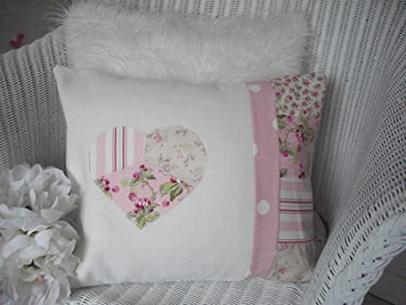 Shabby chic cushion pink fabric patchwork squares applique heart