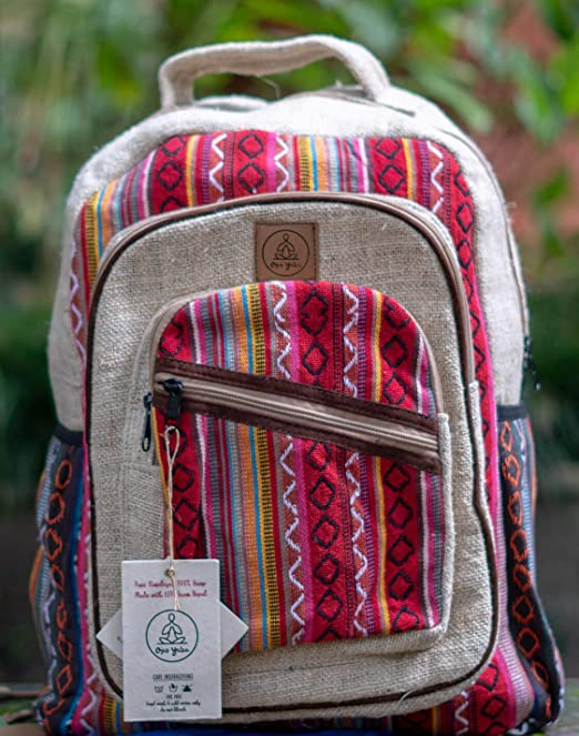 Amazon.com | Natural Large Hemp Backpack - - Handmade Eco-Friendly Multipocket Laptop Bag Anti Theft Travel Bag - Multi Color ...
