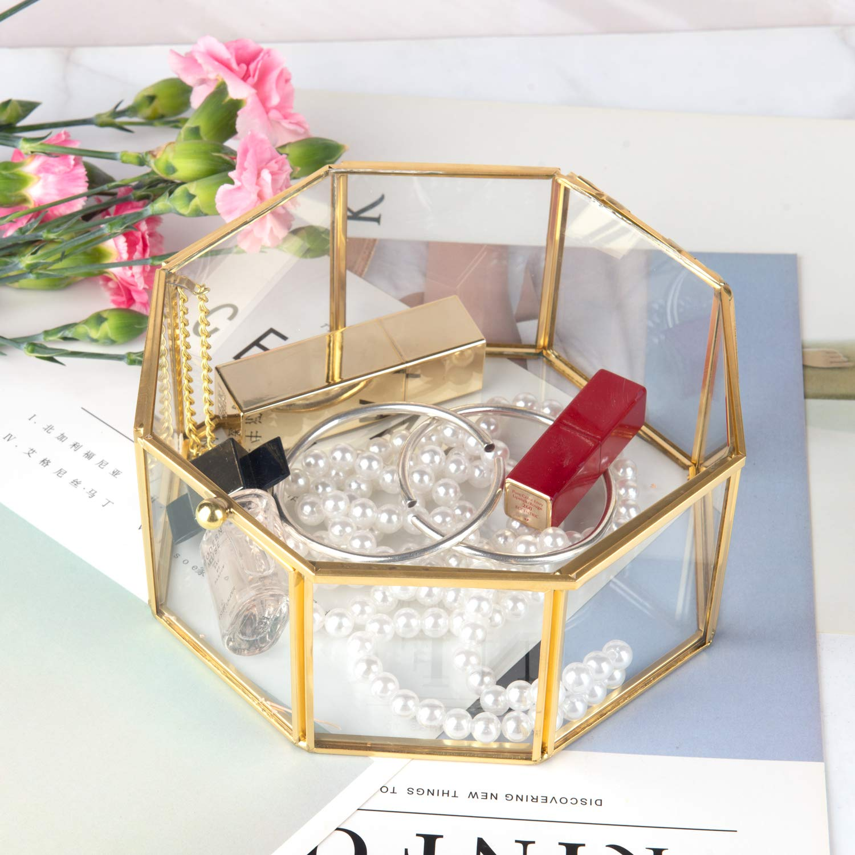 Feyarl Scatola di Vetro Geometrico in Vetro terrario Box Fatto a Mano in Ottone Decorato Anelli Orecchini Box conserva Fiore Decorativo Box Gioielli Box