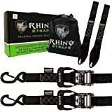 """Rhino USA Ratchet Straps Motorcycle Tie Down Kit, 5,208 Break Strength - Includes (2) Heavy Duty 1.6"""" x 8' Rachet Load Tiedowns with Padded Handles & Coated Chromoly S Hooks + (2) Soft Loop Tie-Downs"""