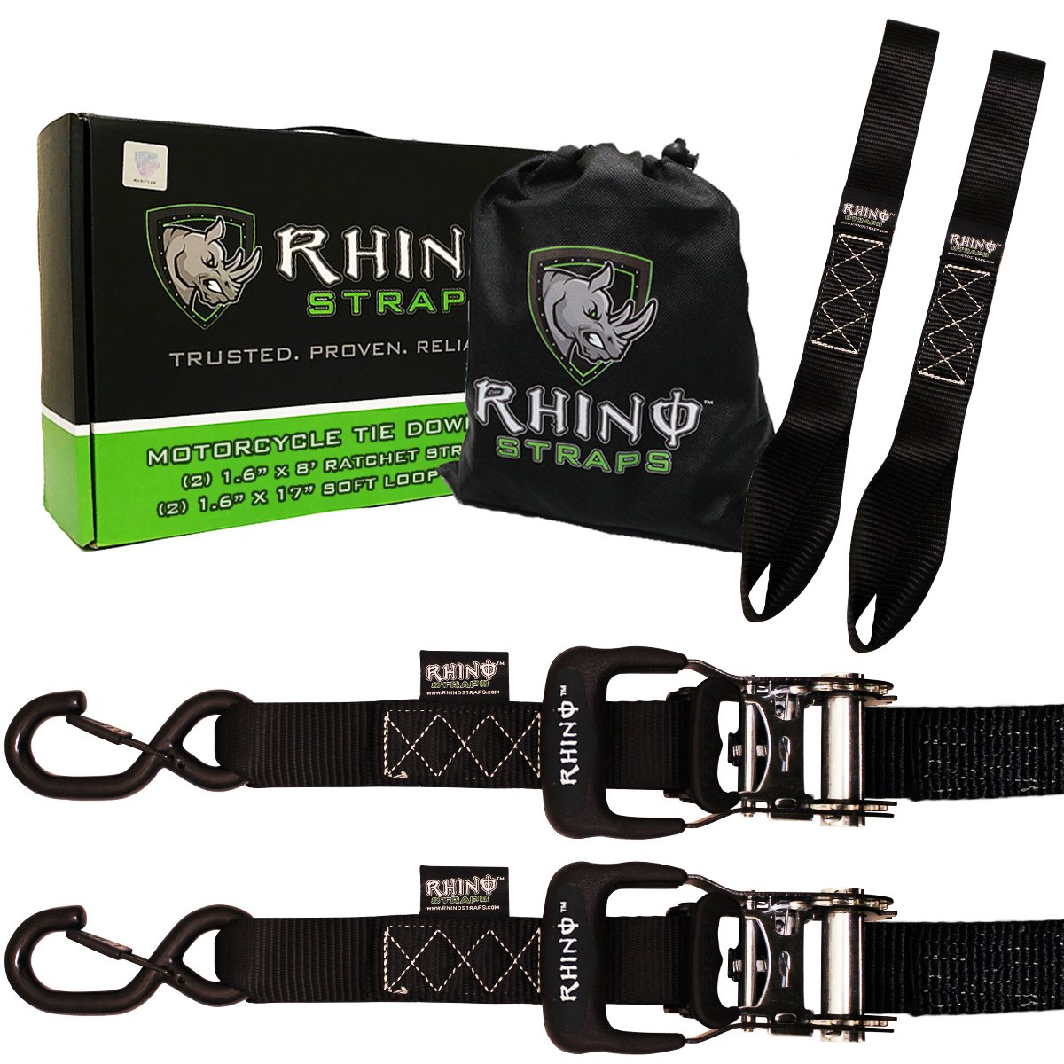 RHINO USA Ratchet Straps Motorcycle Tie Down Kit, 5,208 Break Strength - Includes (2) Heavy Duty 1.6'' x 8' Rachet Tiedowns with Padded Handles & Coated Chromoly S Hooks + (2) Soft Loop Tie-Downs…