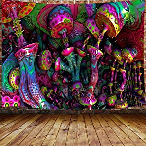 Trippy Mushroom Tapestry for Men, Psychedelic Fantasy Magical 3D Mushroom Small Tapestry Wall Hanging for Bedroom, Cool Hippie Blanket Home Decor (60