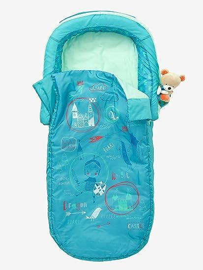 Vertbaudet Saco de dormir Caballero con colchón integrado + cabecero de cama Verde Estampado Caballero UNICA