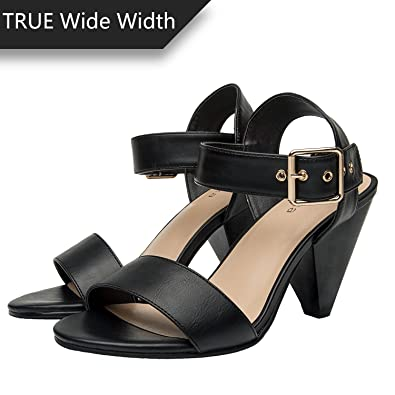 30958c39e16 Luoika Women s Wide Width Heeled Sandals - Comfortable Open Toe Ankle Strap  Chunky Block Low Heel